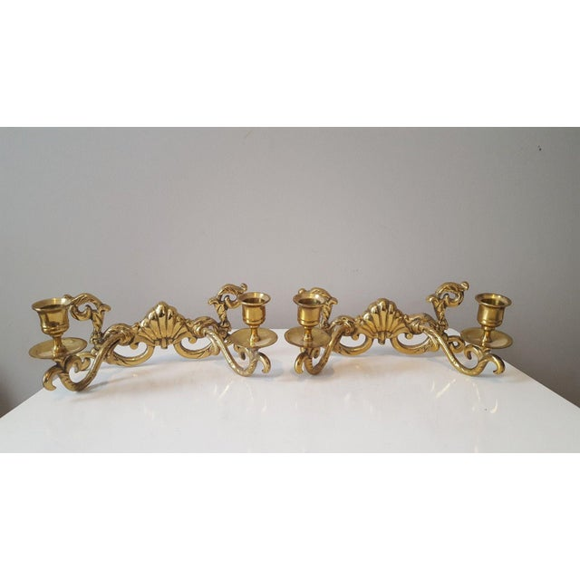 Hollywood Regency Brass Shell Two-Arm Candle Sconces - A Pair - Image 2 of 5