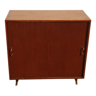 Vintage Mid Century Modern Storage Cabinet Side Table ~ Record Holder For Sale
