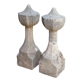 17th Century French Granite Garden Posts - a Pair For Sale