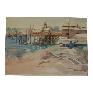 Nautical Painting Mid-Century Boat Marina Watercolor For Sale