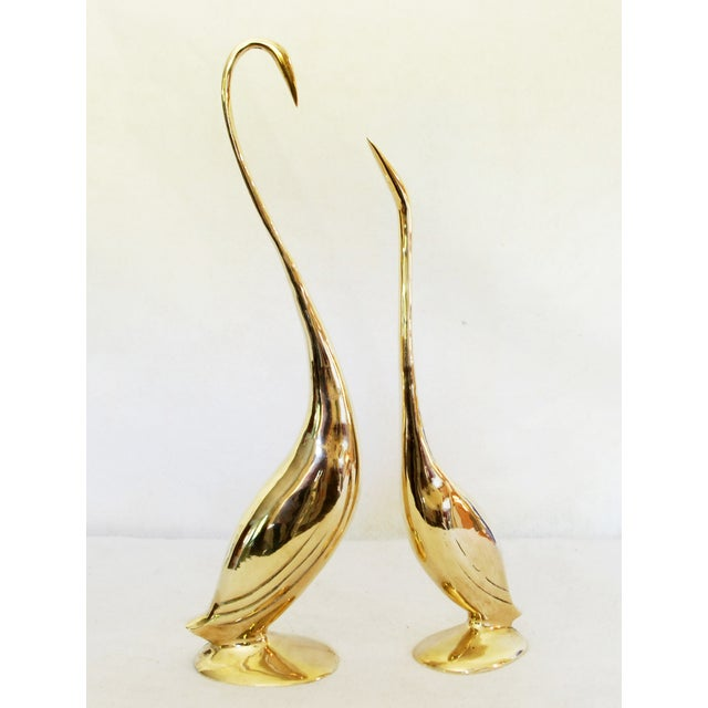 Vintage Solid Brass Egret Statues - Pair - Image 2 of 5