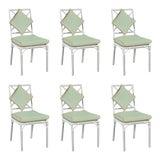 Image of Haven Outdoor Dining Chairs, Canvas Mint with Canvas Tuscany Welt - Set of 6 For Sale