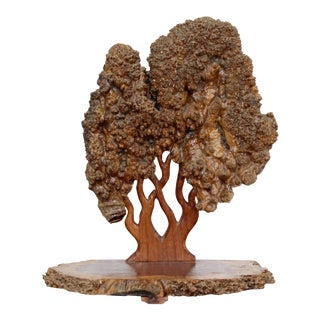 Textured Tree of Life Studio Made Burl Wood Table Sculpture For Sale