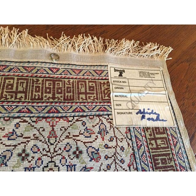 Silk on Silk Small Turkish Kayseri Handmade Rug For Sale - Image 12 of 13