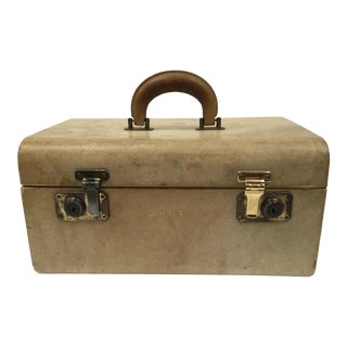 Vintage Monogrammed Leather Train Case For Sale