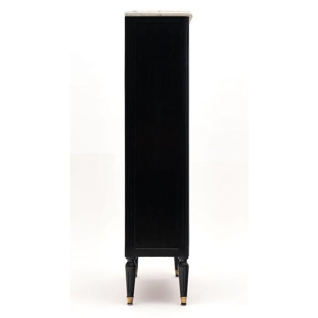Black Petite Louis XVI Style Ebonized Mahogany Bookcase For Sale - Image 8 of 10