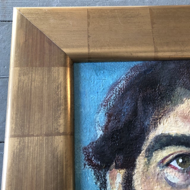 Contemporary Contemporary Original Portrait Painting Young Man Gold Leaf Frame For Sale - Image 3 of 7