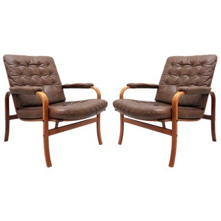 Pair of 1950s Göte Möbler Nässjö Swedish Bentwood Leather Chairs For Sale