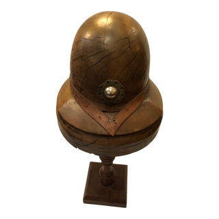 1920s Vintage Walnut Sculpted Helmet on Stand For Sale