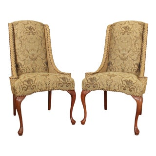 Harden Queen Anne Style Custom Upholstered Host Chairs - a Pair For Sale