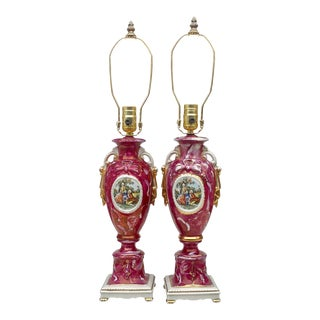 Antique French Sevres Style Cranberry Porcelain Urn Romance Lamps – a Pair For Sale