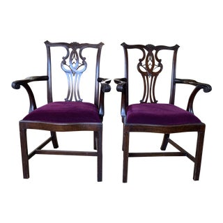 Antique Chippendale Mahogany Aubergine Mohair Armchairs- a Pair For Sale