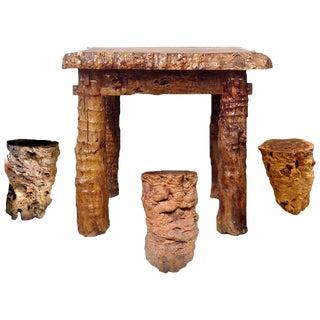 Antique Jujube Log Table & Stools