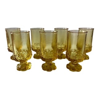 Vintage Canary Yellow Glasses -Set of 7 For Sale