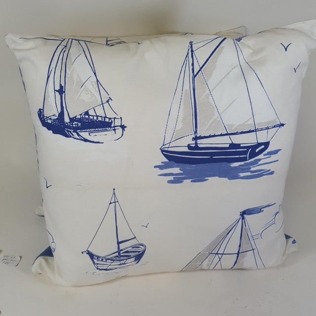 Blue Sailboat Accent Pillows - a Pair For Sale - Image 4 of 9
