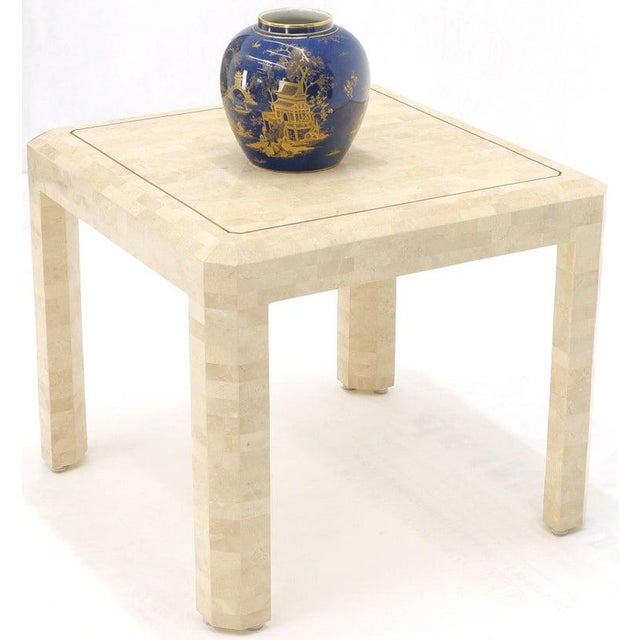 Tesselated Stone Brass Inlay Square Side End Table For Sale - Image 6 of 12