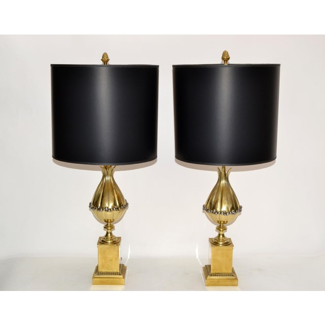 Superb Pair of Maison Charles French Art Deco Lotus Table Lamp in Bronze with Black and Gold Paper Shade. US rewired and...