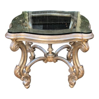 Louis XV Style Silver Giltwood Designer Center or End Table by Traditional Imports For Sale