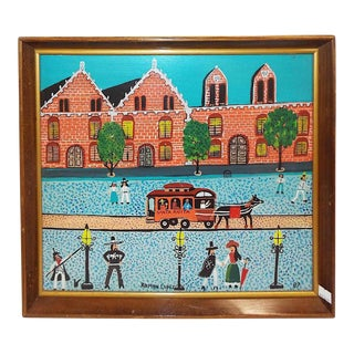 Original Vintage Hispanic Folk Art-Signed Oil on Board-Roman Lopez C.1987 For Sale
