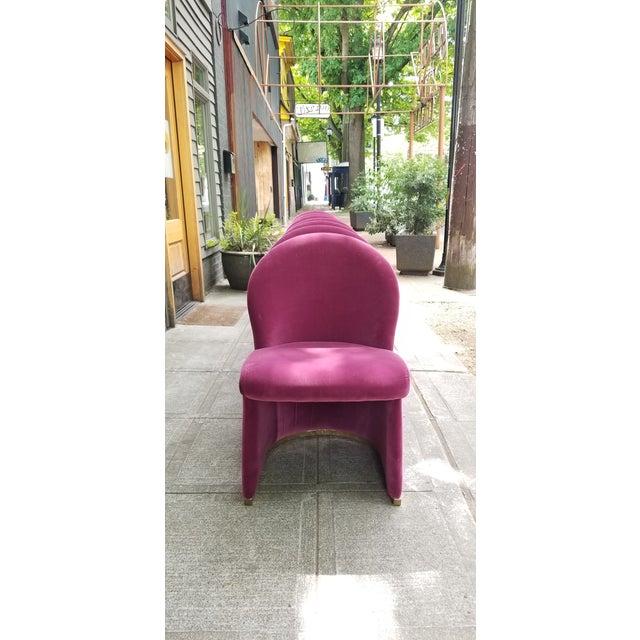 Mid-Century Purple Velvet Dining Chairs - Set of 8 - Image 3 of 8