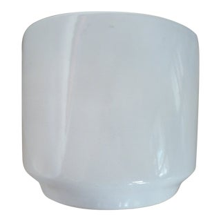 Mid-Century Gainey C Style Pottery Gloss White Planter For Sale