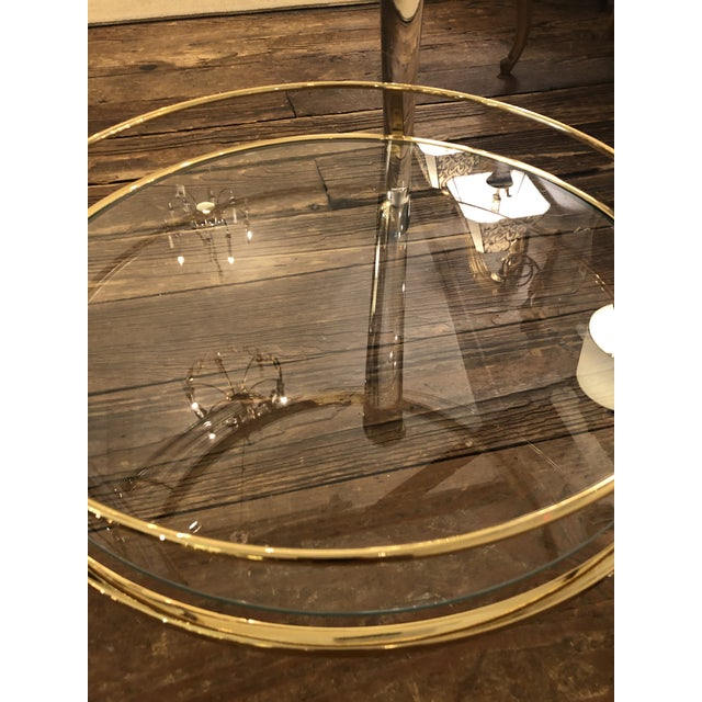French Lucite and Gold Plated Round Bar Cart For Sale In Philadelphia - Image 6 of 12