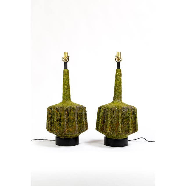 Monumental Pair of Green Lava Glaze Lamps by Volcano Fantoni For Sale - Image 12 of 12