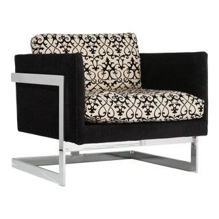Milo Baughman T-Back Chrome Lounge Chair For Sale