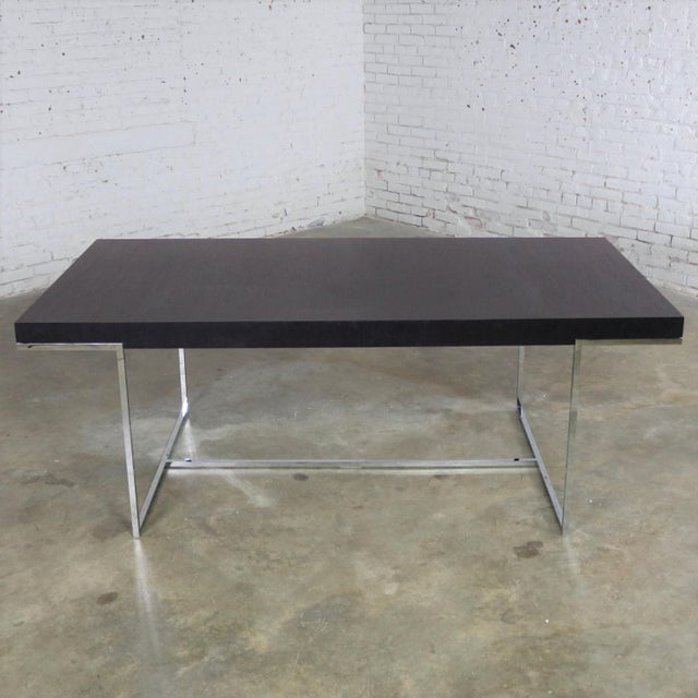 Athos Dining Table by Paolo Piva for B and B Italia Chrome and Dark Brown Oak For Sale - Image 13 of 13