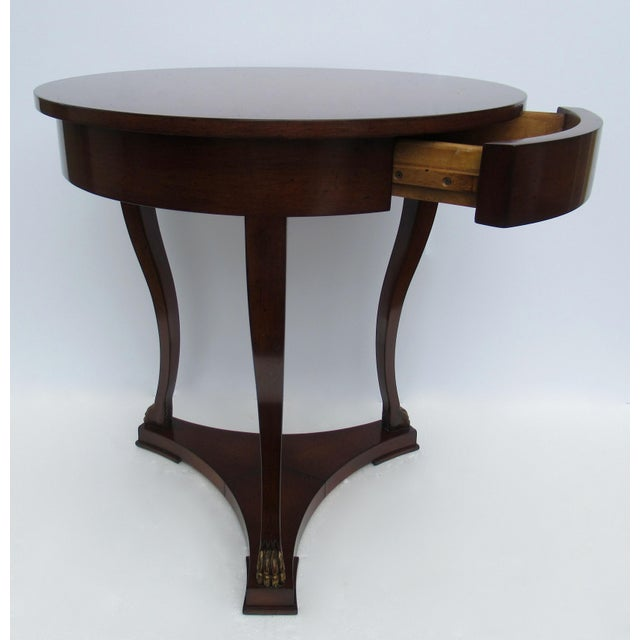 "1990s C.1998 Nancy Corzine -Round English Walnut ""DeSilva"" Side Table, With Gilt Paw Feet & Single Drawer For Sale - Image 5 of 13"