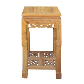 Chinese Square Carved Wood Pedestal Plant Stand