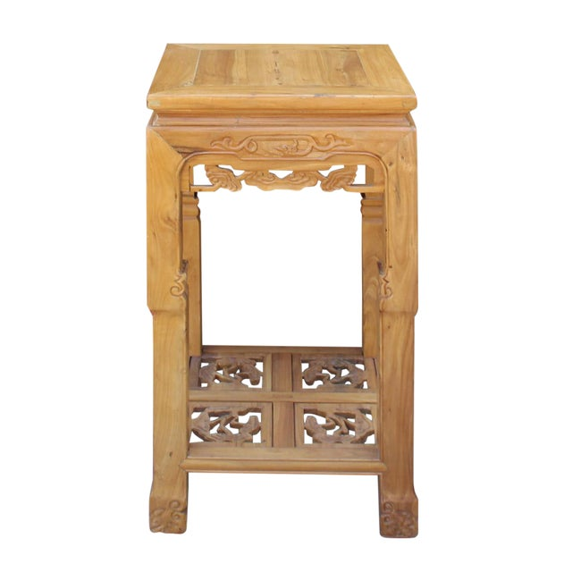 Chinese Square Carved Wood Pedestal Plant Stand - Image 1 of 6