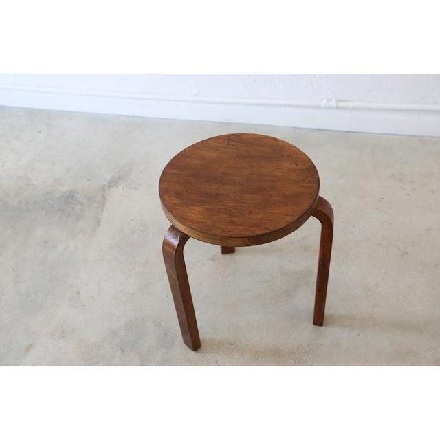 Alvar Aalto Dark Brown Stool   Chairish on