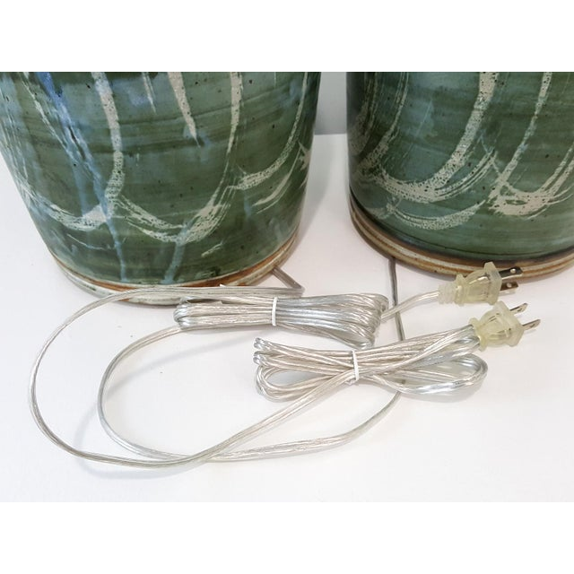 Vintage Green Studio Pottery Lamps - A Pair - Image 6 of 10