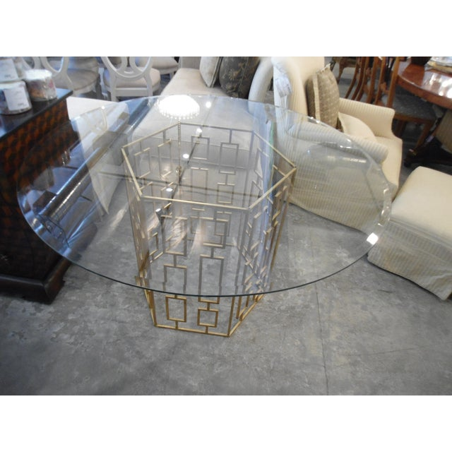 Contemporary Round Glass Dining Table With Gold Lattice Base For Image 3 Of 4