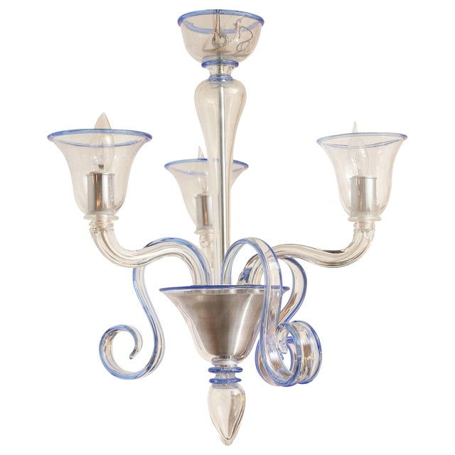 Three-Arm Clear Glass Murano Chandelier For Sale