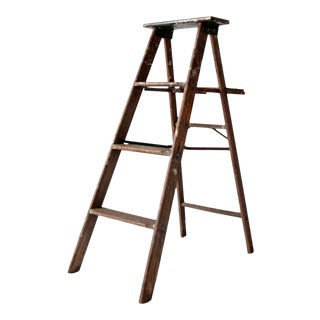 Vintage Folding Wood Ladder For Sale