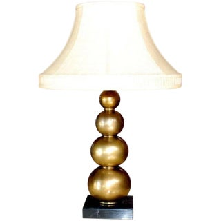 Brass Table Lamp With Marble Base For Sale