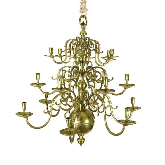 Brass A Dutch Brass triple tier, 18 light Chandelier, circa 1860 For Sale - Image 7 of 8
