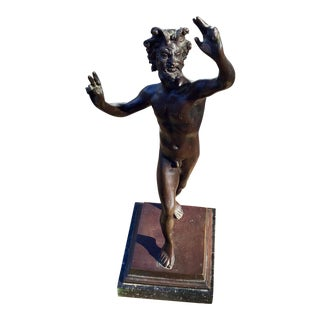 Grand Tour Bronze Satyr Dancing Faun Pompeii Sculpture Signed For Sale