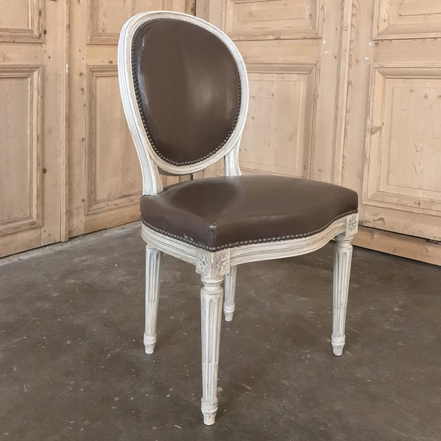 Set of 8 Antique French Louis XVI Dining Chairs Includes 2 Armchairs For Sale - Image 11 of 13