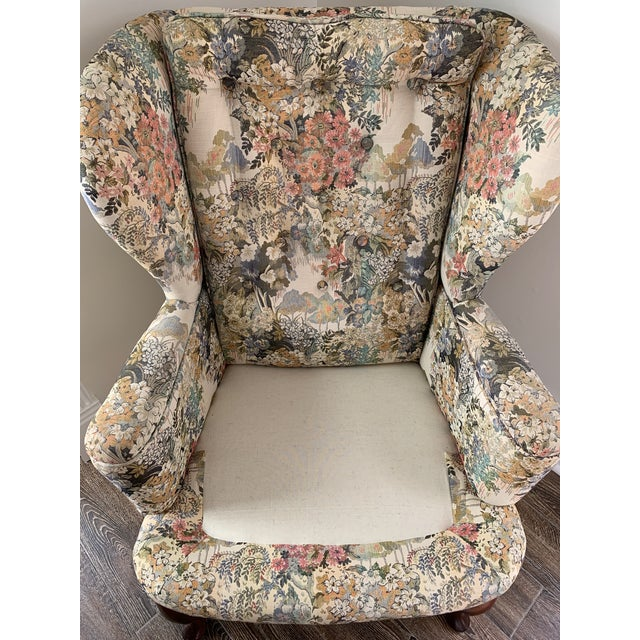 Green Custom Floral Wingback Chair For Sale - Image 8 of 12