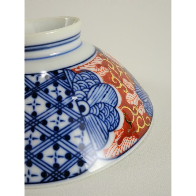 Blue Chinoiserie Imari Porcelain Rice Bowls - a Pair For Sale - Image 8 of 12