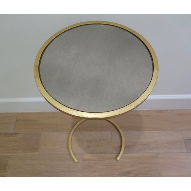 Gold U Shaped Base With Mirrored Top Side Table - Image 2 of 3