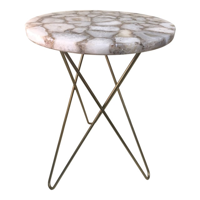 Agate Table Top W/ Hairpin Legs For Sale