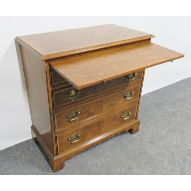 Chippendale Baker Chippendale Burl Walnut Bachelor Chest For Sale - Image 3 of 8