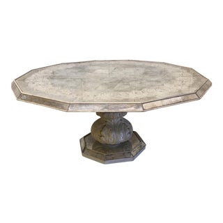 Antique Mirrored Silver Leaf Octagonal Pedestal Coffee Table For Sale