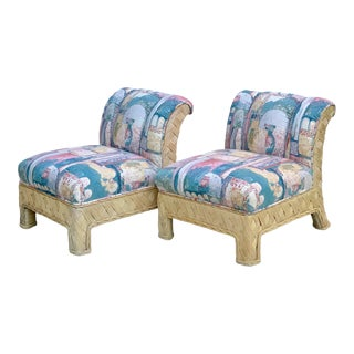 1970s McGuire Wrapped Rattan/Wicker Upholstered Slipper Lounge Chairs- a Pair For Sale