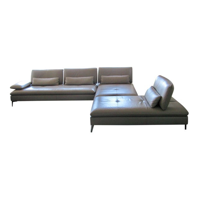 Roche Bobois Taupe 3 Pc Leather Sectional Sofa - Image 1 of 4