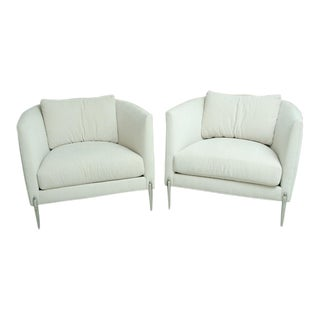 Pair of Milo Baughman Club Chairs With Stainless Steel Legs For Sale